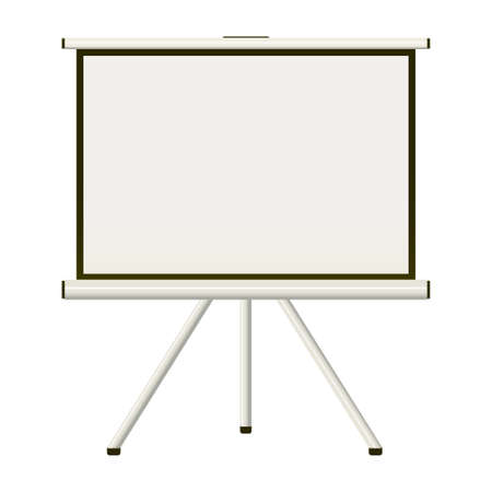 tripod projector: Blank white modern blank projector screen that folds away