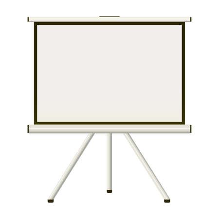 Blank white modern blank projector screen that folds away