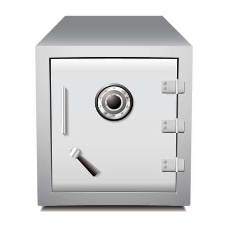 safety box: Silver secure metal money or valuables dial safe Stock Photo