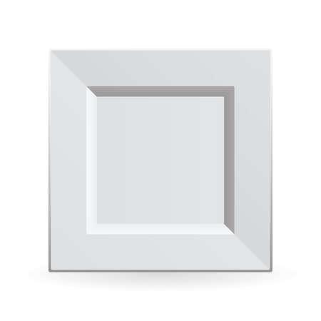 forme carre: Chine blanche sur plaque de nettoyer et de forme avec ombre carr�e Banque d'images