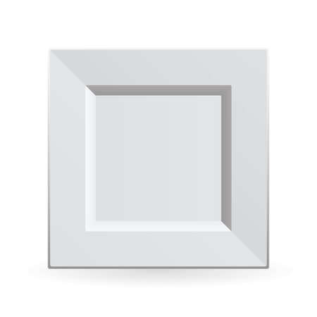 White china plate clean and square shape with shadow