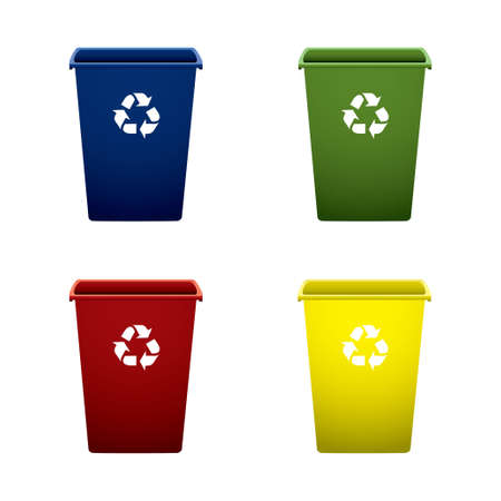 dispose: Collection of colourful recycle trash or rubbish bins