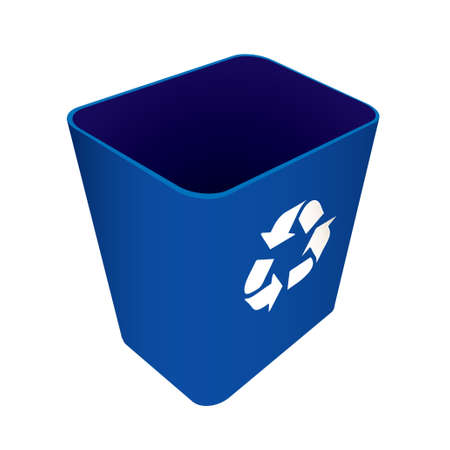 Blue plastic recycle waste can or bin photo