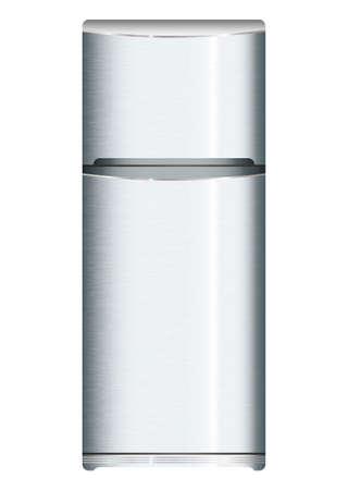 Brushed silver metal cool modern fridge