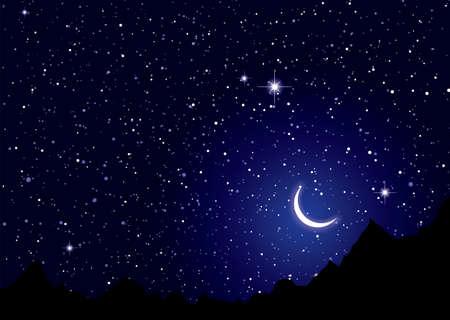Dark space nights sky with silhouette mountains Standard-Bild