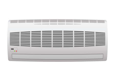 conditions: Modern air conditioner with open grill