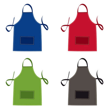 kitchen illustration: Cooks apron collection in bright colours with pocket