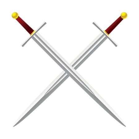 Silver metal sword crossed with red handles Standard-Bild