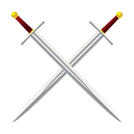 gold cross: Silver metal sword crossed with red handles Stock Photo