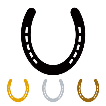 silhouette lucky irish horseshoe in black gold and silver Stock fotó