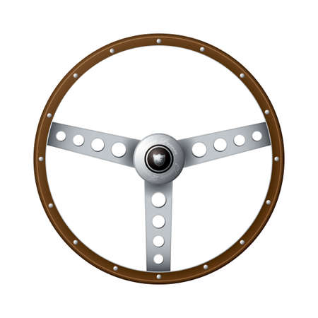 rim: Wooden rim steering wheel with classic metal arms and rivets