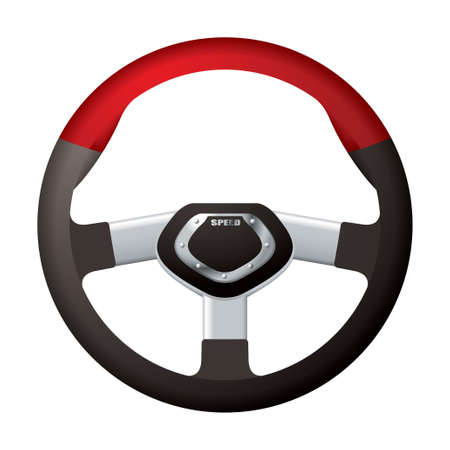 car tuning: Red and black sports steering wheel with metal chrome detail