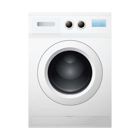 Illustrated white washing machine concept with empty drum