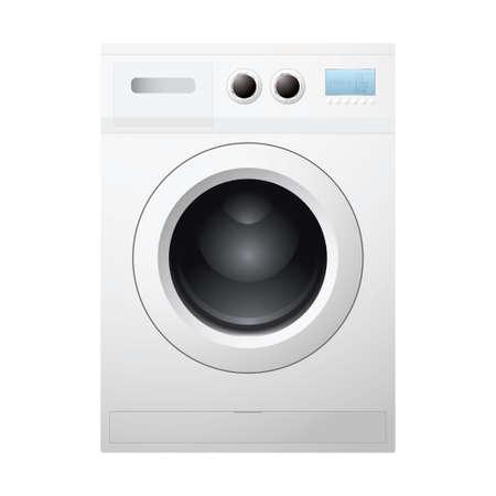 wash machine: Illustrated white washing machine concept with empty drum