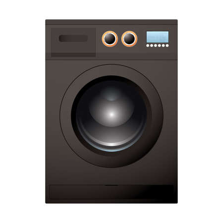 Modern black washing machine with bright LCD screen photo