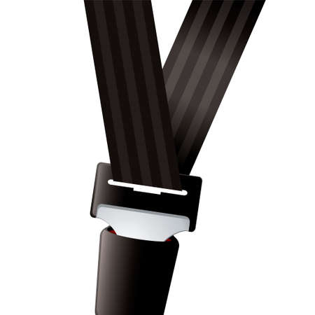 black belt: Modern seat belt for car clipped in and secure
