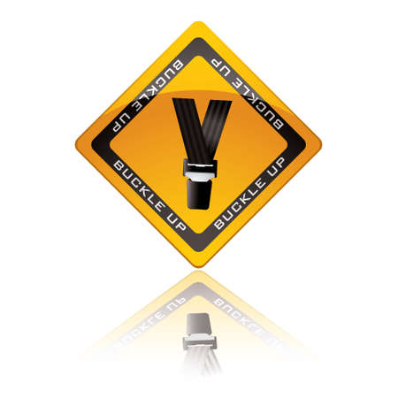 belt up: Yellow warning sign with reflection for buckle up seat belt