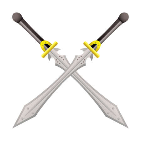 excalibur: Two large swords crossed ideal for coat of arms Stock Photo