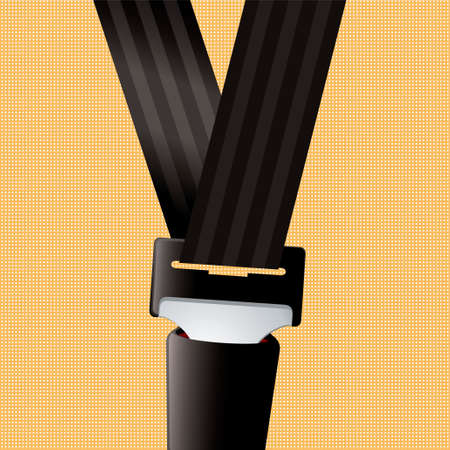black belt: Saftey seat belt clipped in with orange background Stock Photo