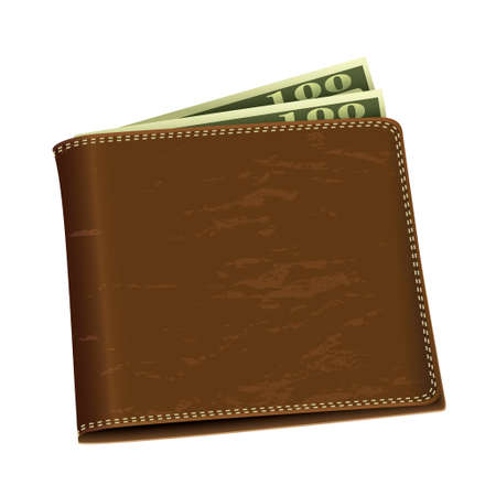 Brown leather wallet with two hundred dollar bank notes photo