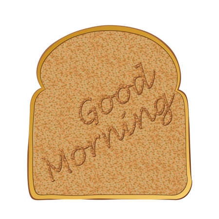 toasted bread: Morning toasted bread concept with toast text Stock Photo