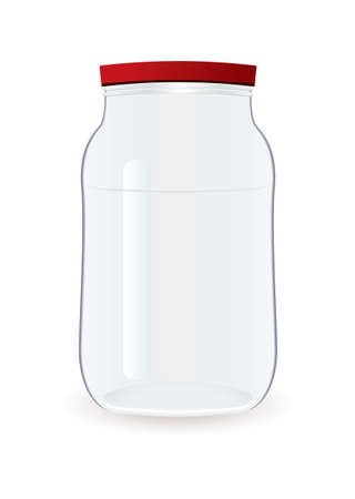 conserved: Glass clear empty jam jar with red lid
