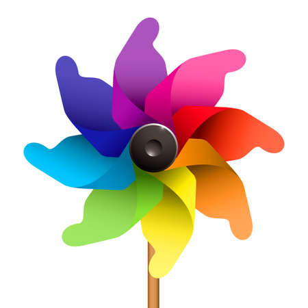 windmills: Colourful childs windmill or pinwheel Stock Photo