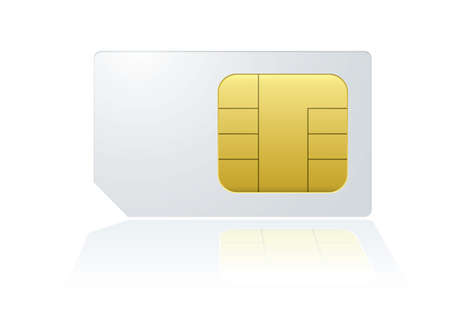 sim: White mobile cell phone sim card with reflection in background Stock Photo