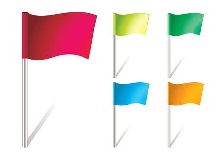 flapping: five brightly colored flapping flags in the wind