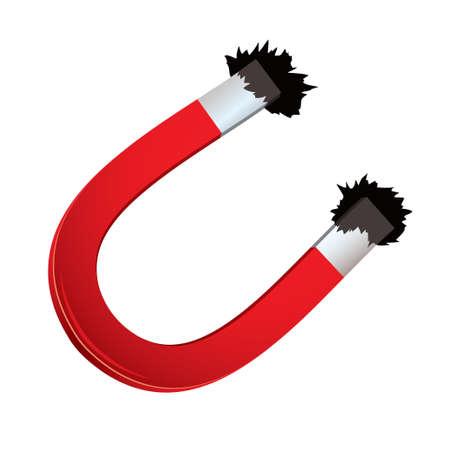 magnetismo: Magnete a ferro di cavallo rosso con limatura di ferro