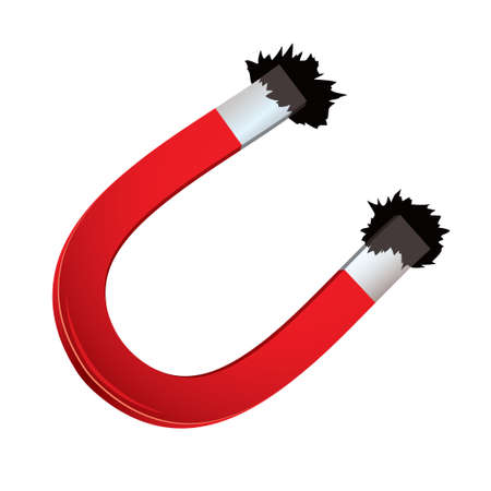 magnetism: Red horseshoe magnet with iron filings