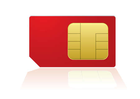 prepaid card: Red mobile phone sim with reflection in white background Stock Photo