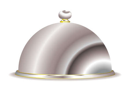 cloche: Silver food serving cloche with gold trim