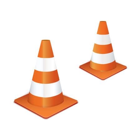 traffic cone: Two orange traffic highway cones in a line Stock Photo