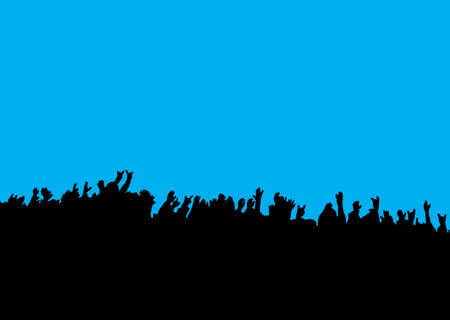 applauding: Black silhouette of crowd hands at concert with blue background Stock Photo