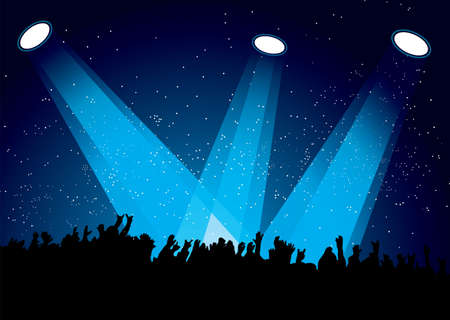 live entertainment: Concert crowd at festival with spotlights night time