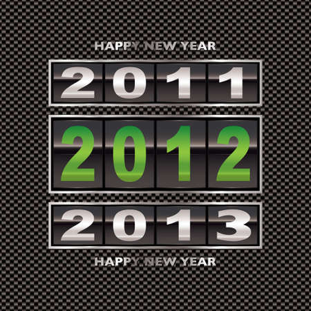 Changing from 2011 to 2012 new year date on carbon fiber background photo
