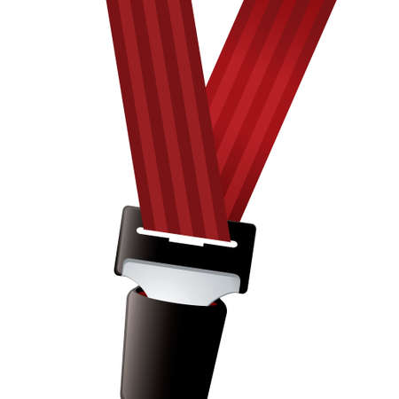 Car seat belt clipped in with red strap Stock Photo - 11466253