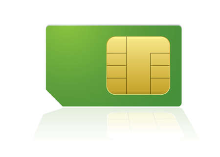 prepaid: Modern mobile or cell phone sim with reflection Stock Photo