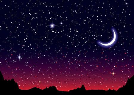 noche estrellada: Cielo rojo por la noche con el paisaje estrellado y las montañas