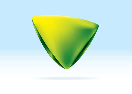 Green and yellow organic triangle icon with shadow background photo