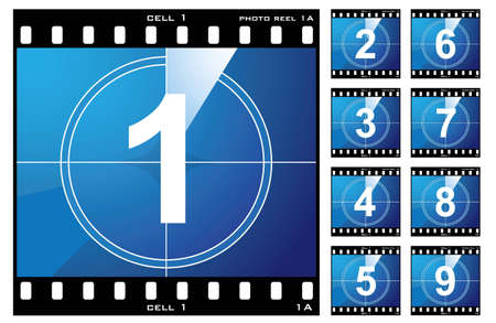 Old film cell elements count down numbers