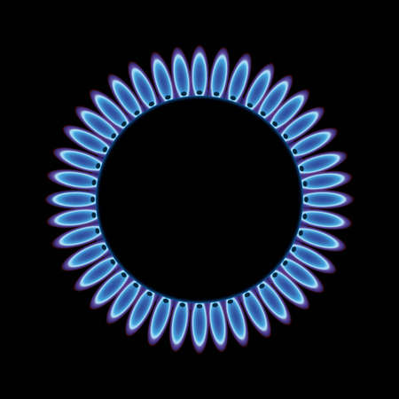 gas fire: Blue gas flame on stove or hob for cooking