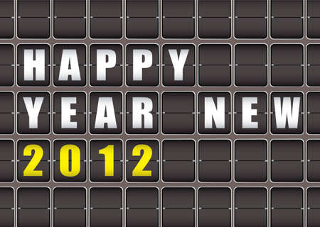 Happy New Year railway ticker board Stock Photo - 11467237