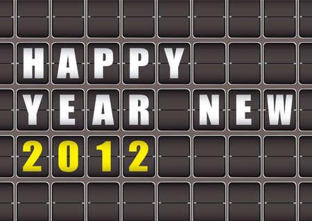 Happy New Year railway ticker board Stock Photo - 11467237