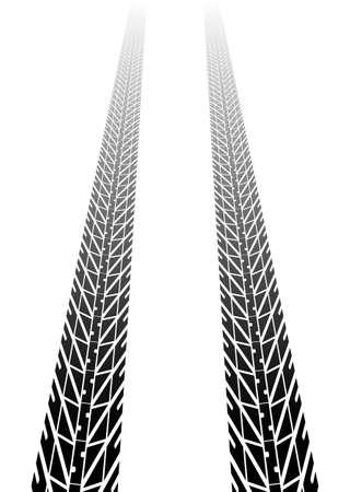 tread: Black tire tread fading into distance