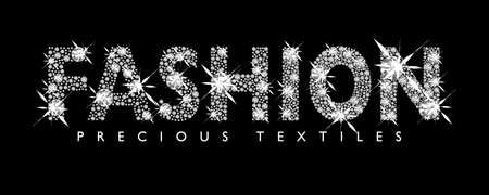 diamond letters: White diamond fashion text with black background Stock Photo