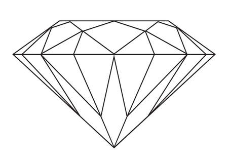 diamond stones: Simple black and white diamond outline icon or symbol