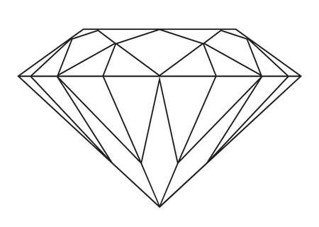 piedras preciosas: Simple de diamante blanco y negro icono del contorno o s�mbolo