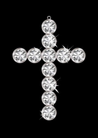 Silver diamond cross relgious pendant with black background Stock Photo - 11995967